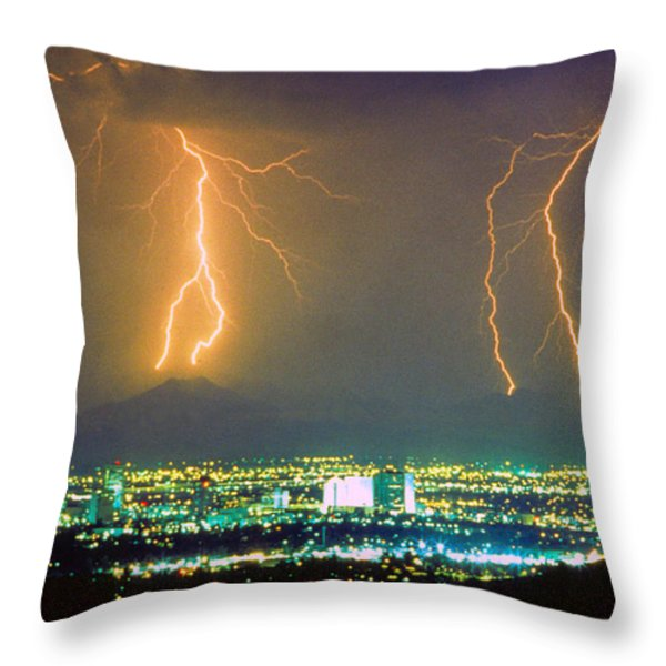South Mountain Lightning Strike Phoenix Az Throw Pillow by James BO  Insogna