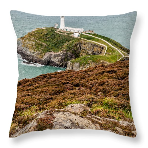 South Stack Lighthouse Throw Pillow by Adrian Evans