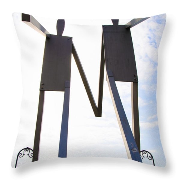 South Street Stick Men Statue Throw Pillow by Bill Cannon