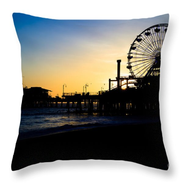 Southern California Santa Monica Pier Sunset Throw Pillow by Paul Velgos