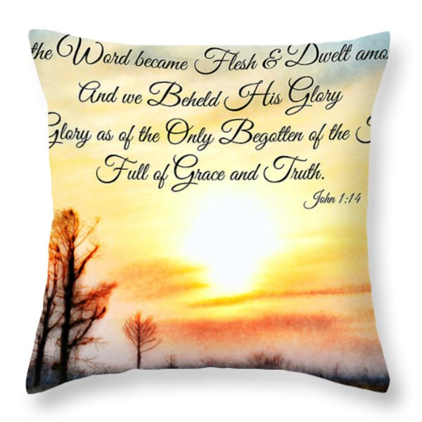 Southern Sunset - Digital Paint II With Verse Throw Pillow by Debbie Portwood