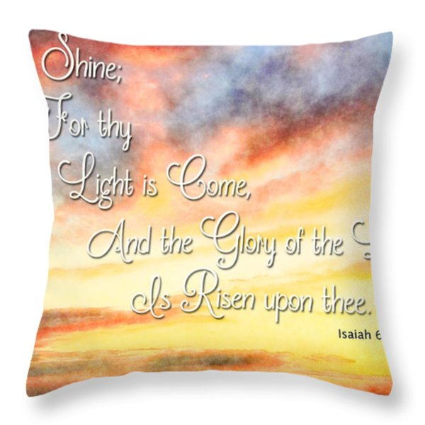 Southern Sunset - Digital Paint IIi With Verse Throw Pillow by Debbie Portwood