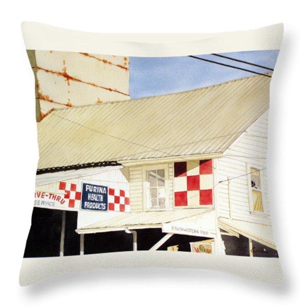Southwestern Feed Throw Pillow by Jim Gerkin