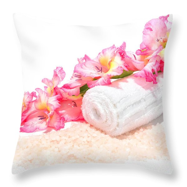 Spa Gladiolus Throw Pillow by Olivier Le Queinec