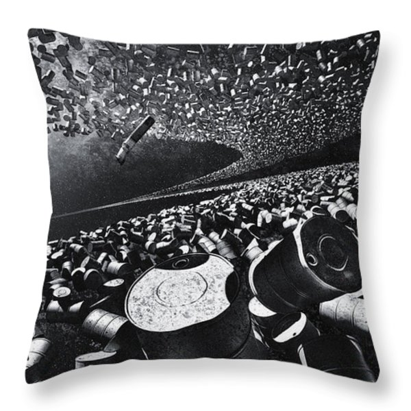 Space Debris Throw Pillow by Vitaliy Gladkiy