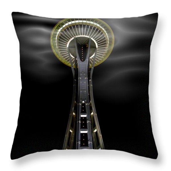 Space Needle And Clouds Throw Pillow by Chalet Roome-Rigdon