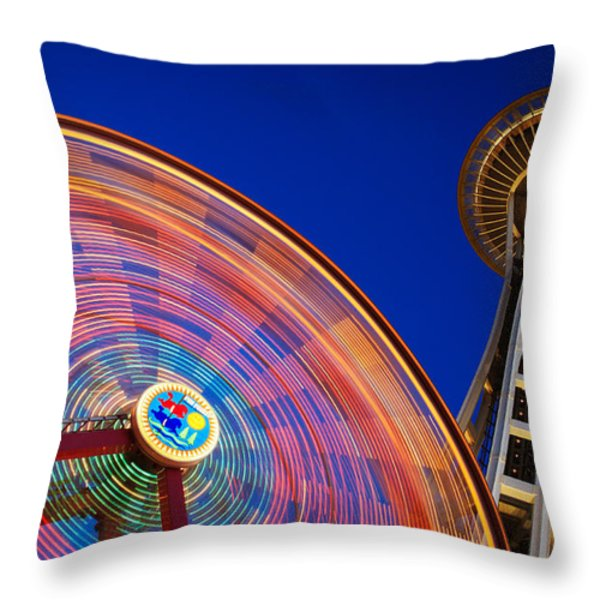 Space Needle And Wheel Throw Pillow by Inge Johnsson