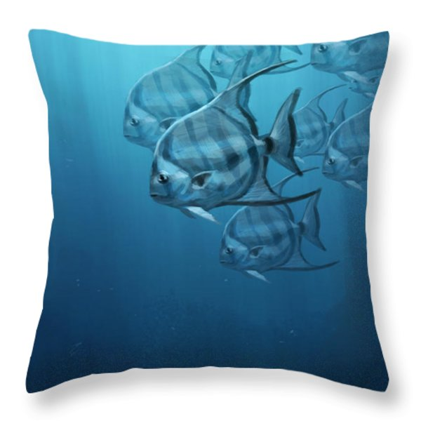 Spade Fish Throw Pillow by Aaron Blaise
