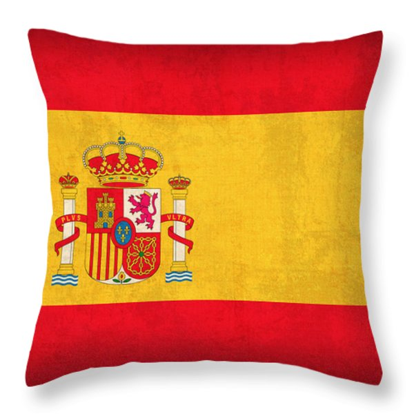 Spain Flag Vintage Distressed Finish Throw Pillow by Design Turnpike