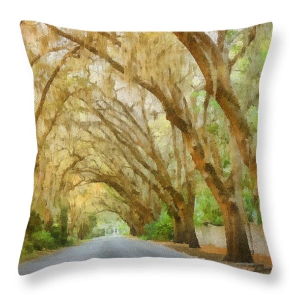 Spanish Moss - Symbol of the South Throw Pillow by Christine Till