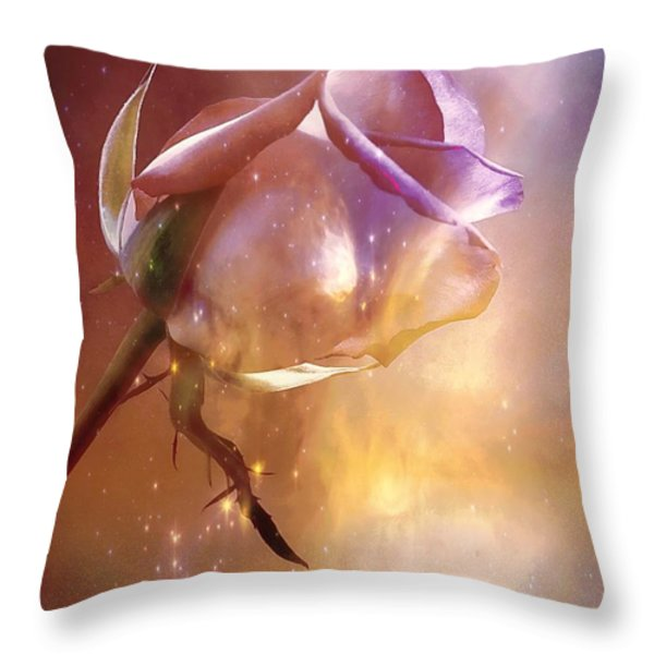 Sparkling Rose Throw Pillow by Anne Macdonald