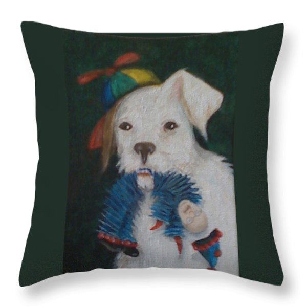 Sparky and Dick Throw Pillow by Georgia Griffin