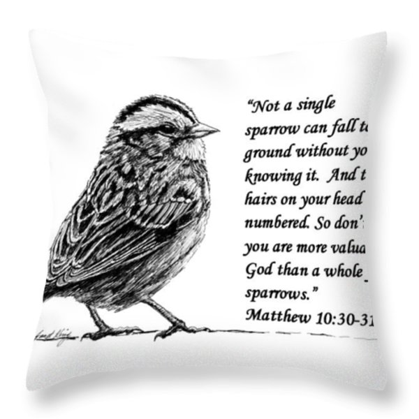 Sparrow drawing with scripture Throw Pillow by Janet King