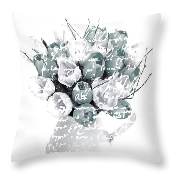 Speak Softly Tulips Throw Pillow by Debra  Miller