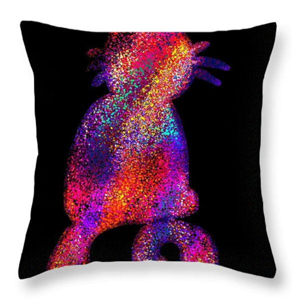 Speckled Rainbow Cat Throw Pillow by Nick Gustafson