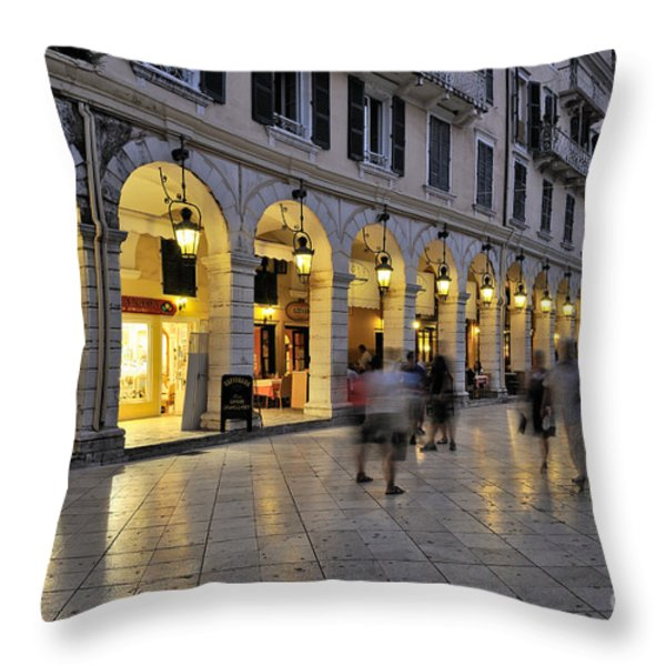 Spianada square during dusk time Throw Pillow by George Atsametakis