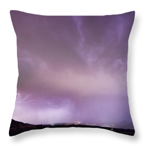 Spider Lightning Above Haystack Boulder Colorado Throw Pillow by James BO  Insogna