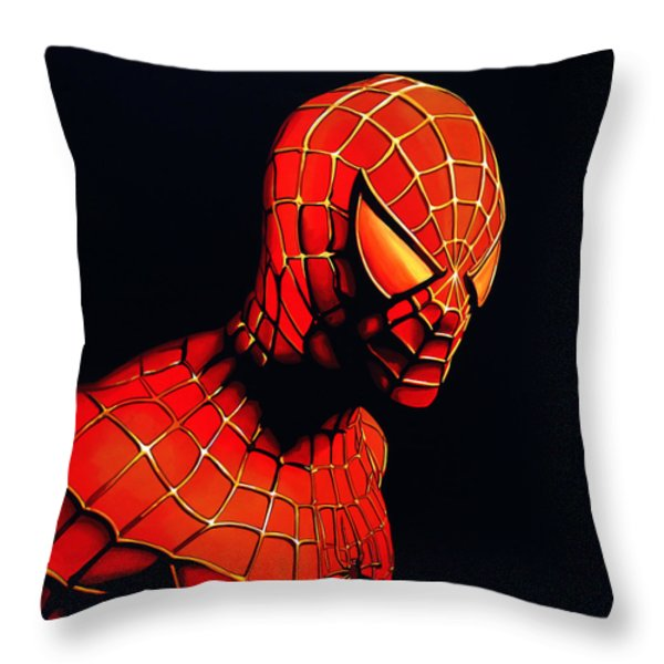 Spider-man Throw Pillow by Paul Meijering