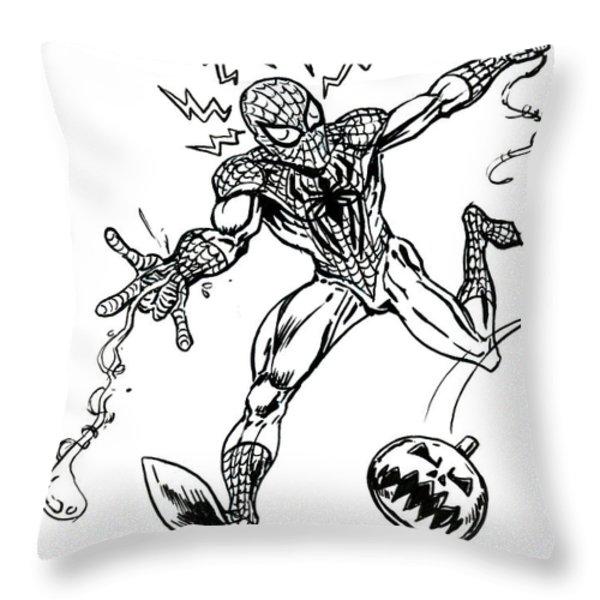 Spidey Dodges A Pumpkin Bomb Throw Pillow by John Ashton Golden