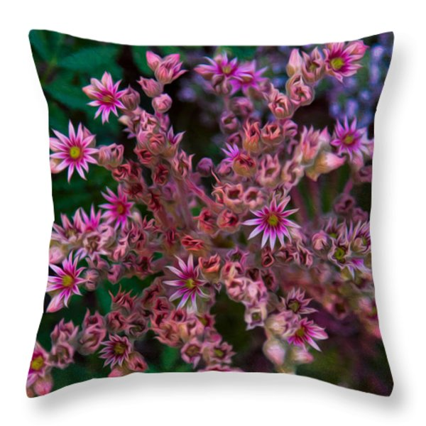 Spiky Flowers Throw Pillow by Omaste Witkowski