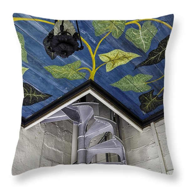 Spiral Stairs And Mural Throw Pillow by Lynn Palmer