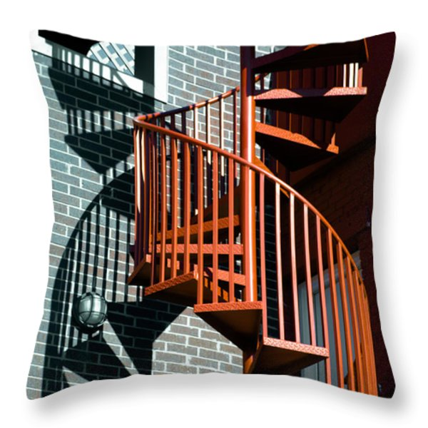 Spiral Stairs - Color Throw Pillow by Darryl Dalton