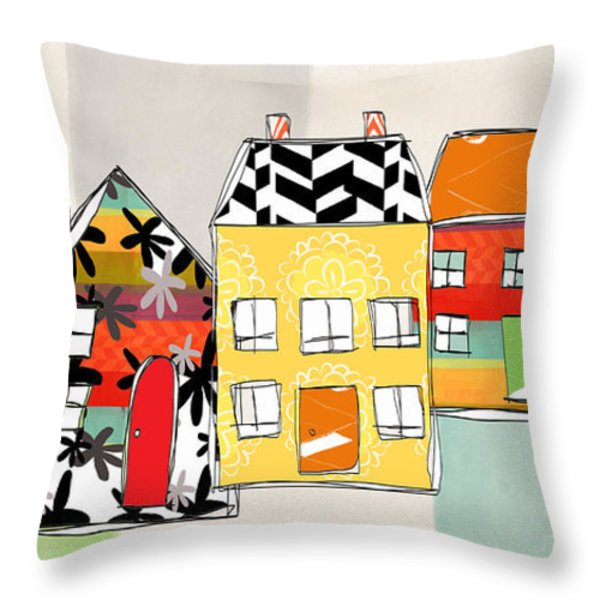 Spirit House Row Throw Pillow by Linda Woods