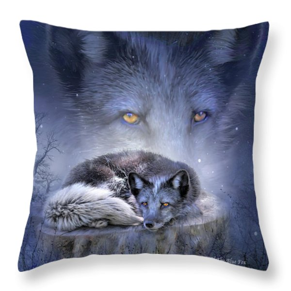 Spirit Of The Blue Fox Throw Pillow by Carol Cavalaris