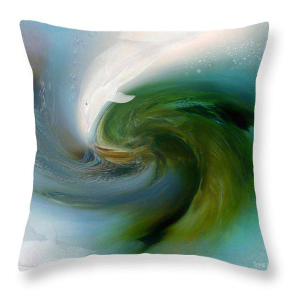 Spirit Of The White Dolphin Throw Pillow by Carol Cavalaris