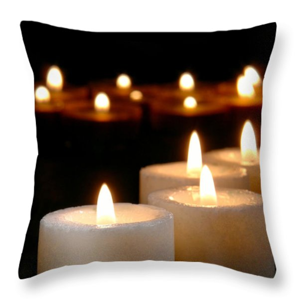 Spiritual Reflection Candles Throw Pillow by Olivier Le Queinec