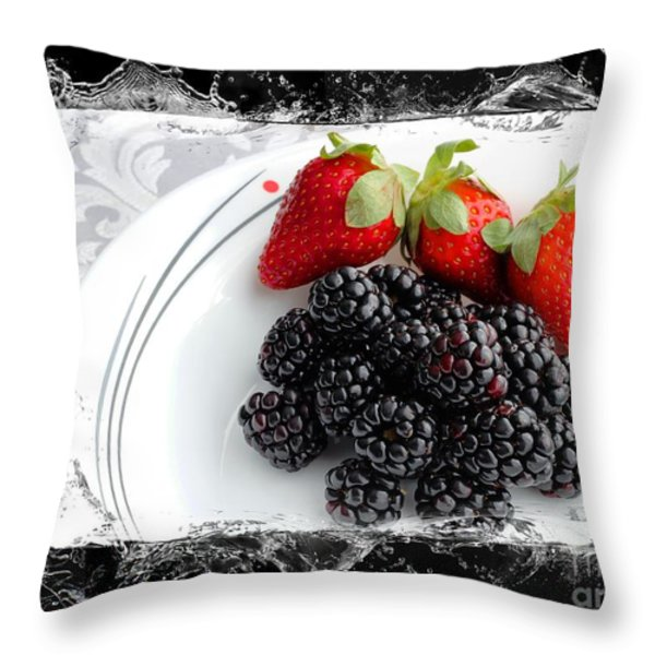 Splash - Fruit - Strawberries and Blackberries Throw Pillow by Barbara Griffin