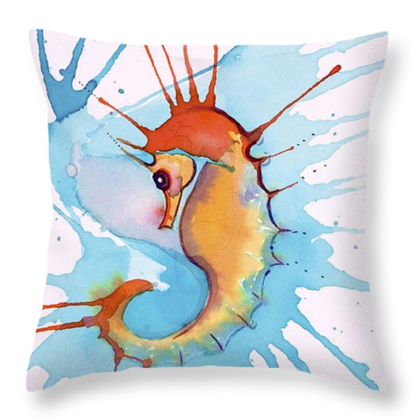 Splash Seahorse Throw Pillow by Jane Wilcoxson
