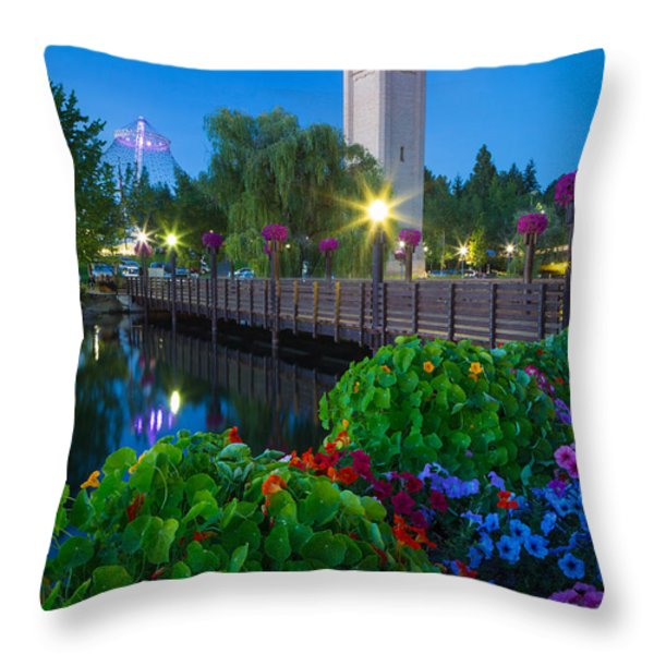 Spokane Clocktower by Night Throw Pillow by Inge Johnsson