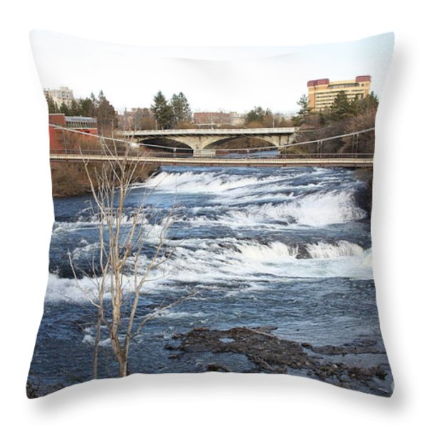 Spokane Falls in Winter Throw Pillow by Carol Groenen