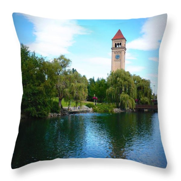Spokane Riverfront Park Throw Pillow by Carol Groenen