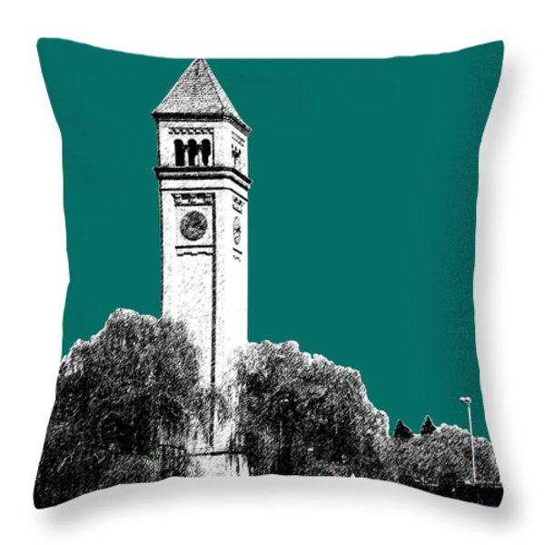 Spokane Skyline Clock Tower - Sea Green Throw Pillow by DB Artist