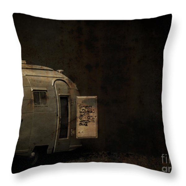 Spooky Airstream Campsite Throw Pillow by Edward Fielding