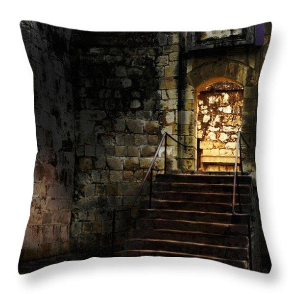Spooky Backlit Door Way In Moon Light Throw Pillow by Oleksiy Maksymenko