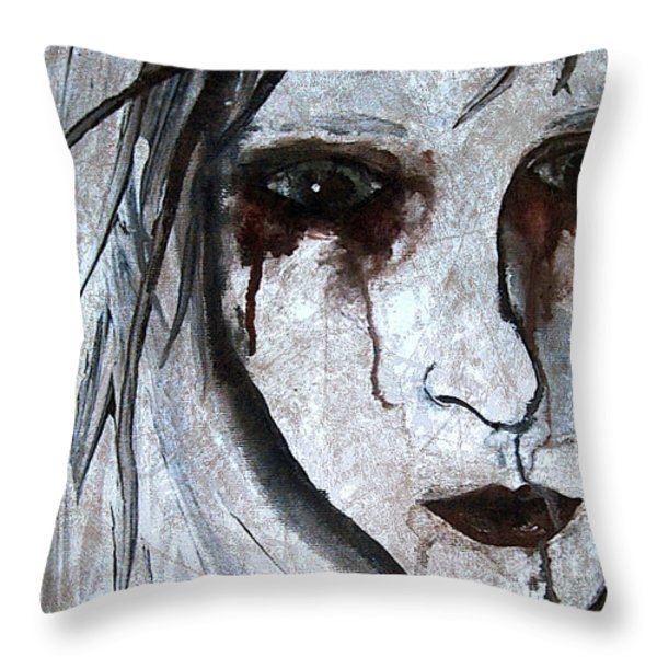Spooky Gothic Zombie Portrait Painting Fine Art Print Throw Pillow by Laura  Carter