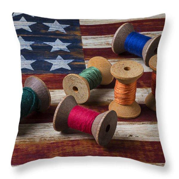 Spools Of Thread On Folk Art Flag Throw Pillow by Garry Gay
