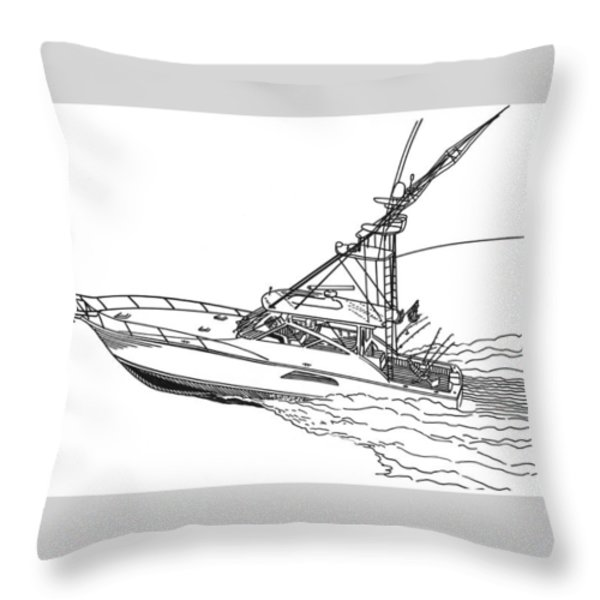 Sportfishing Yacht Throw Pillow by Jack Pumphrey