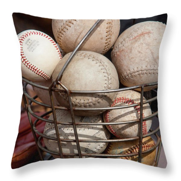 Sports - Baseballs and Softballs Throw Pillow by Art Block Collections