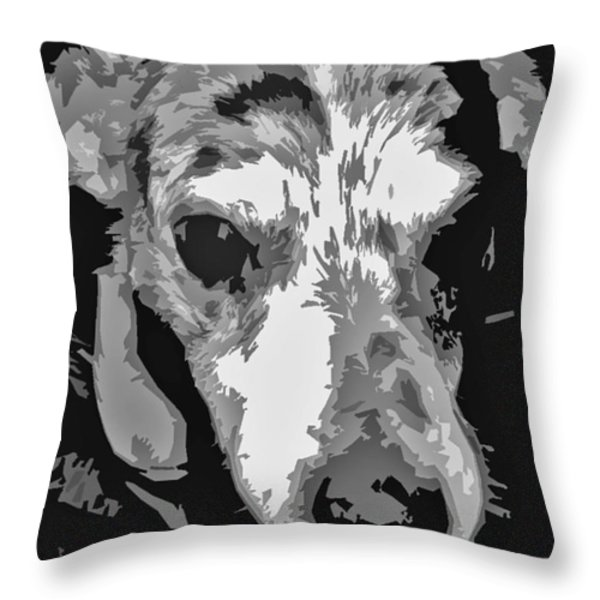 Spotted Dog Black And White Throw Pillow by Minding My  Visions by Adri and Ray