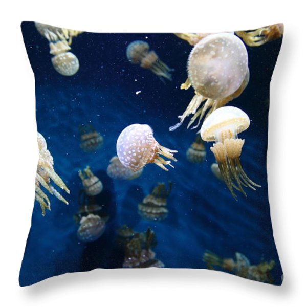 Spotted Jelly Fish 5D24951 Throw Pillow by Wingsdomain Art and Photography