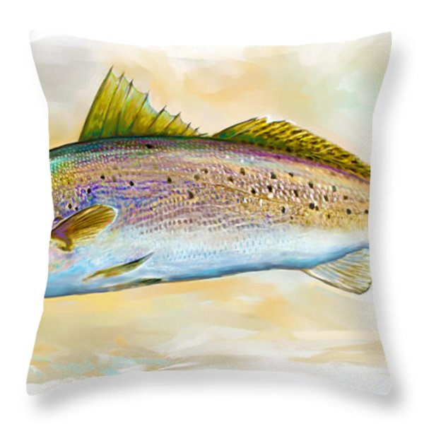 Spotted Trout Illustration Throw Pillow by Mike Savlen