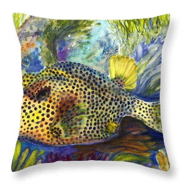 Spotted Trunkfish Throw Pillow by Carol Wisniewski