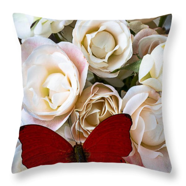 Spray roses and red butterfly Throw Pillow by Garry Gay
