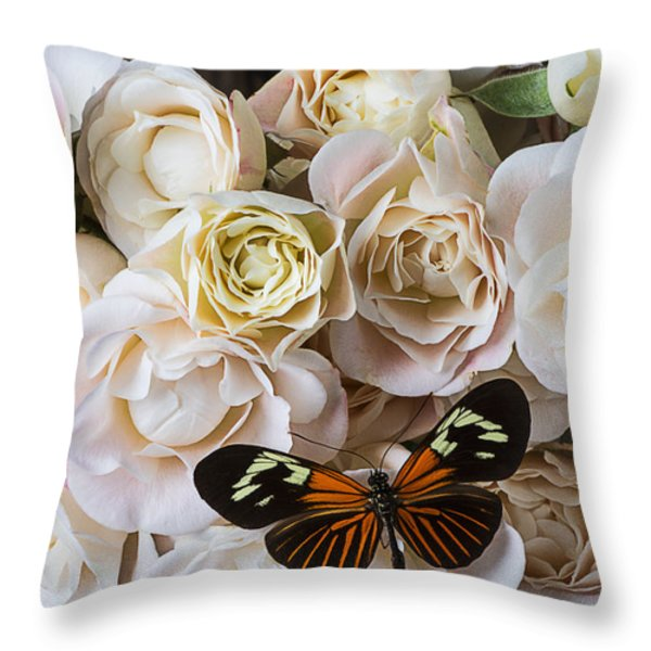 Spray roses Throw Pillow by Garry Gay