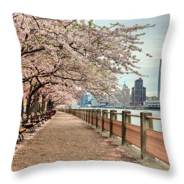 Spring along the East River Throw Pillow by JC Findley