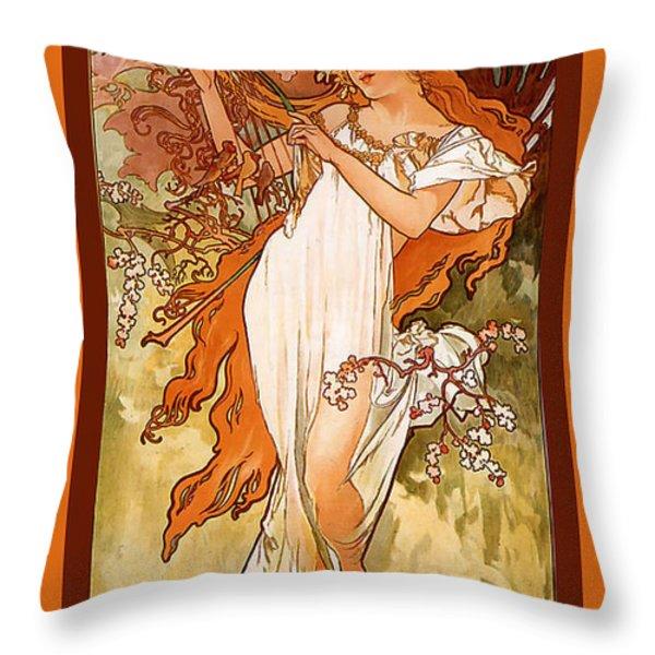 Spring Throw Pillow by Alphonse Maria Mucha
